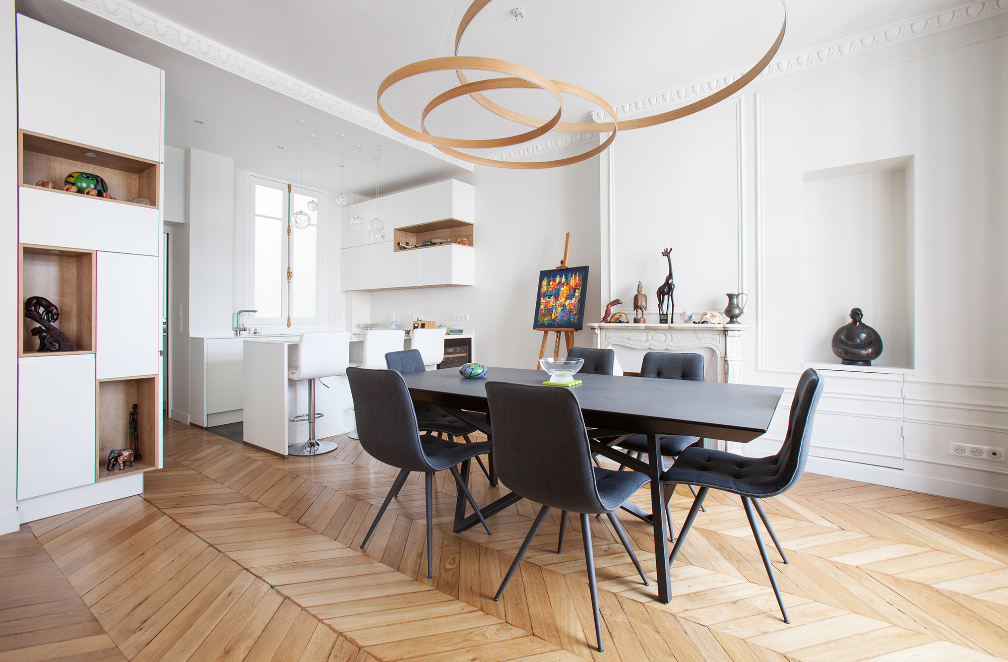 Cuisine ouverte salle à manger meuble sur mesure