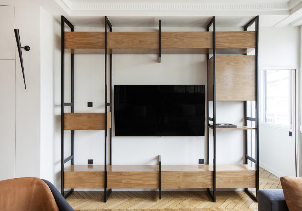 Meuble TV sur mesure bois et métal