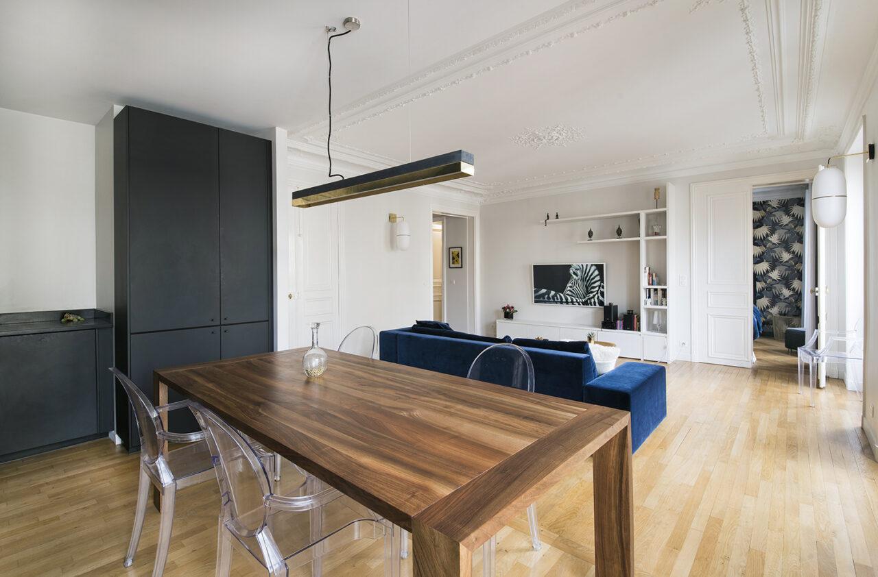 Salle a manger et cuisine ouverte meuble tv sur mesure
