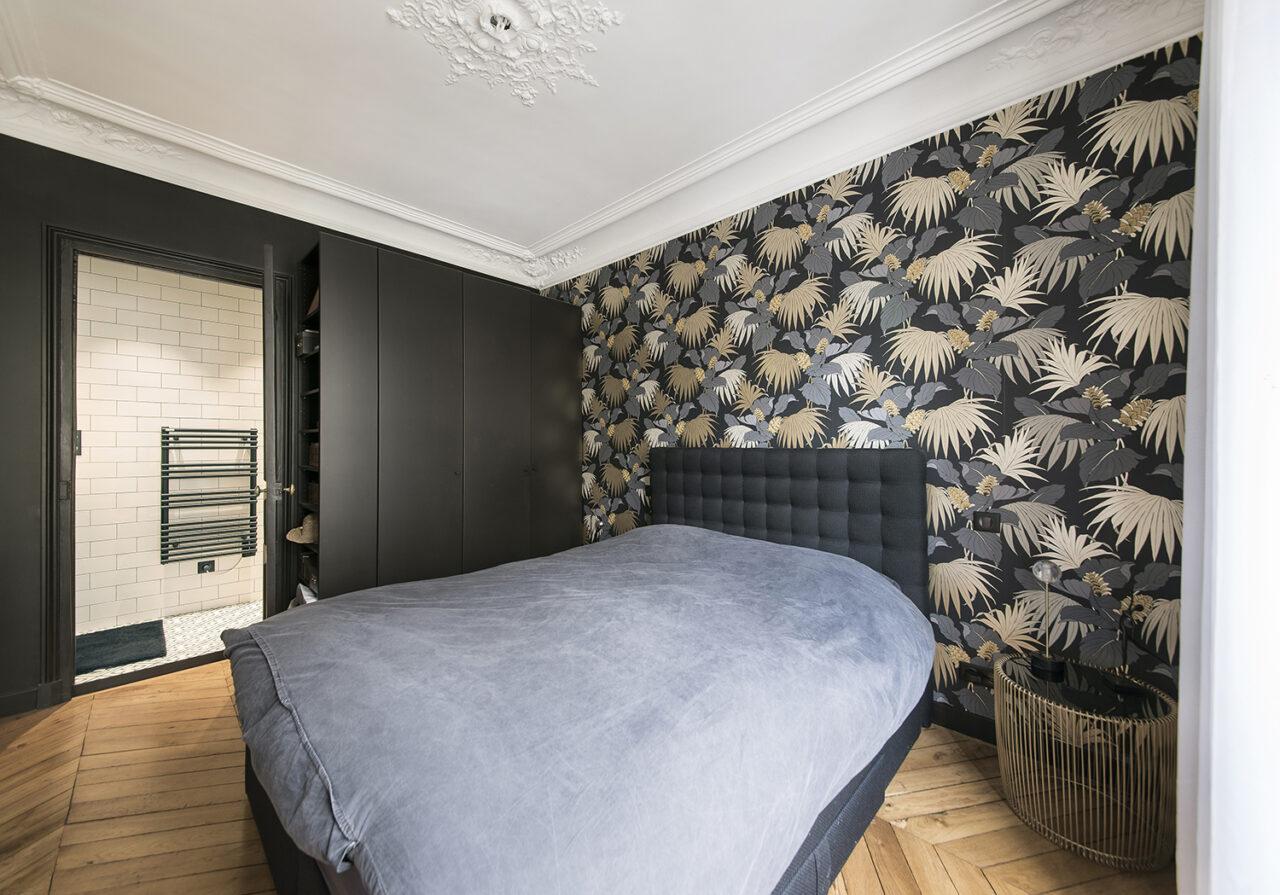 Chambre sur mesure tete de lit decorative papier peint