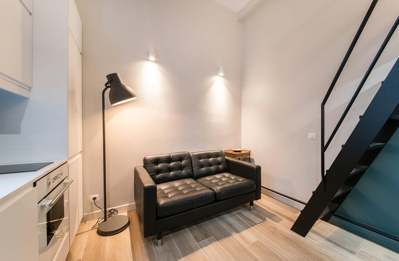 Salon studio sur mesure cuisine blanc