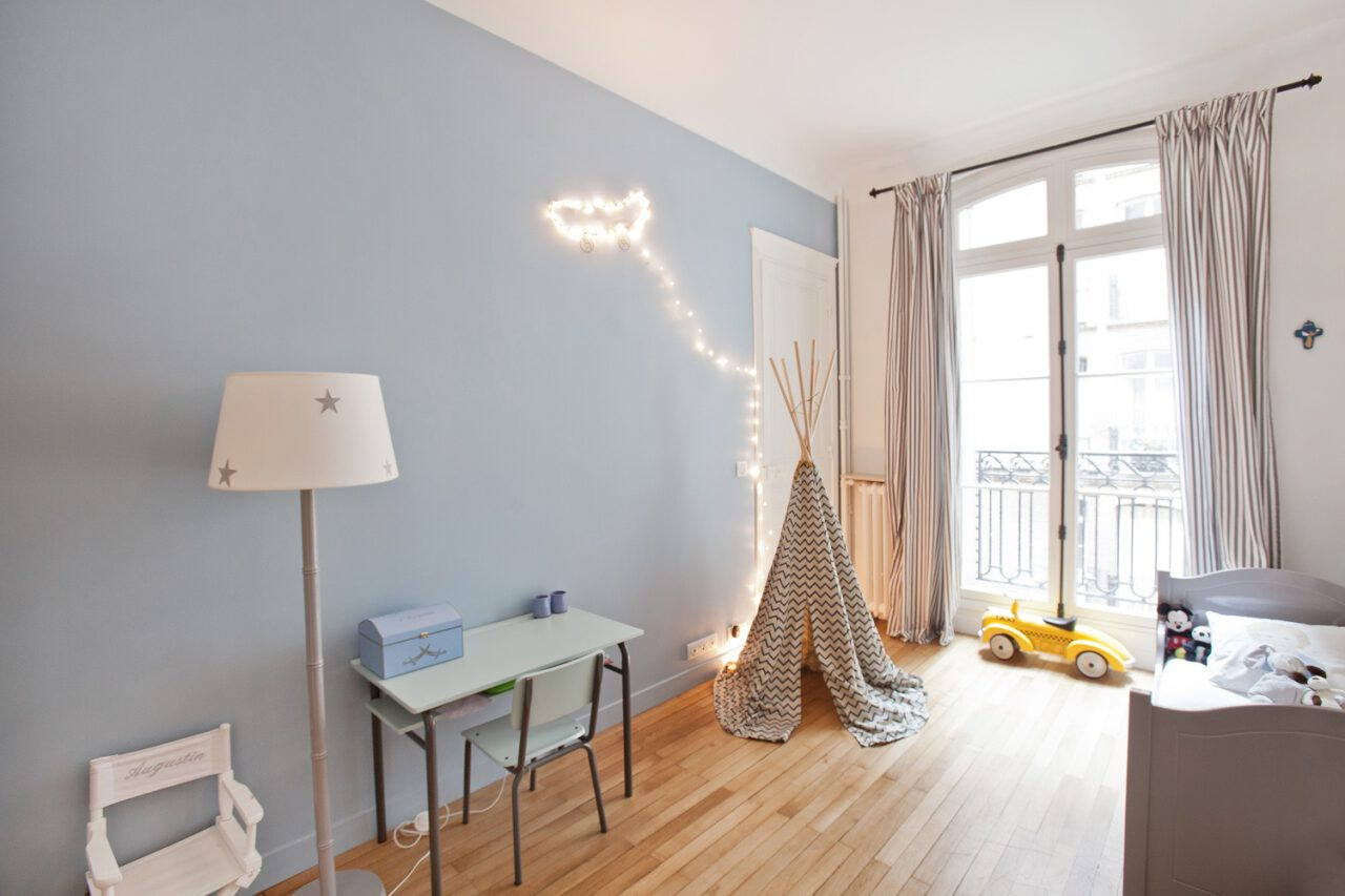 Chambre enfant peinture bleu