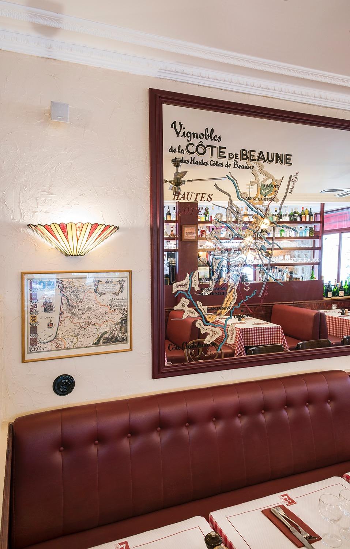 restaurant banquette applique ancienne