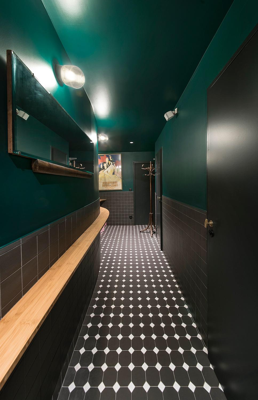 carrelage cabochon sanitaire vert
