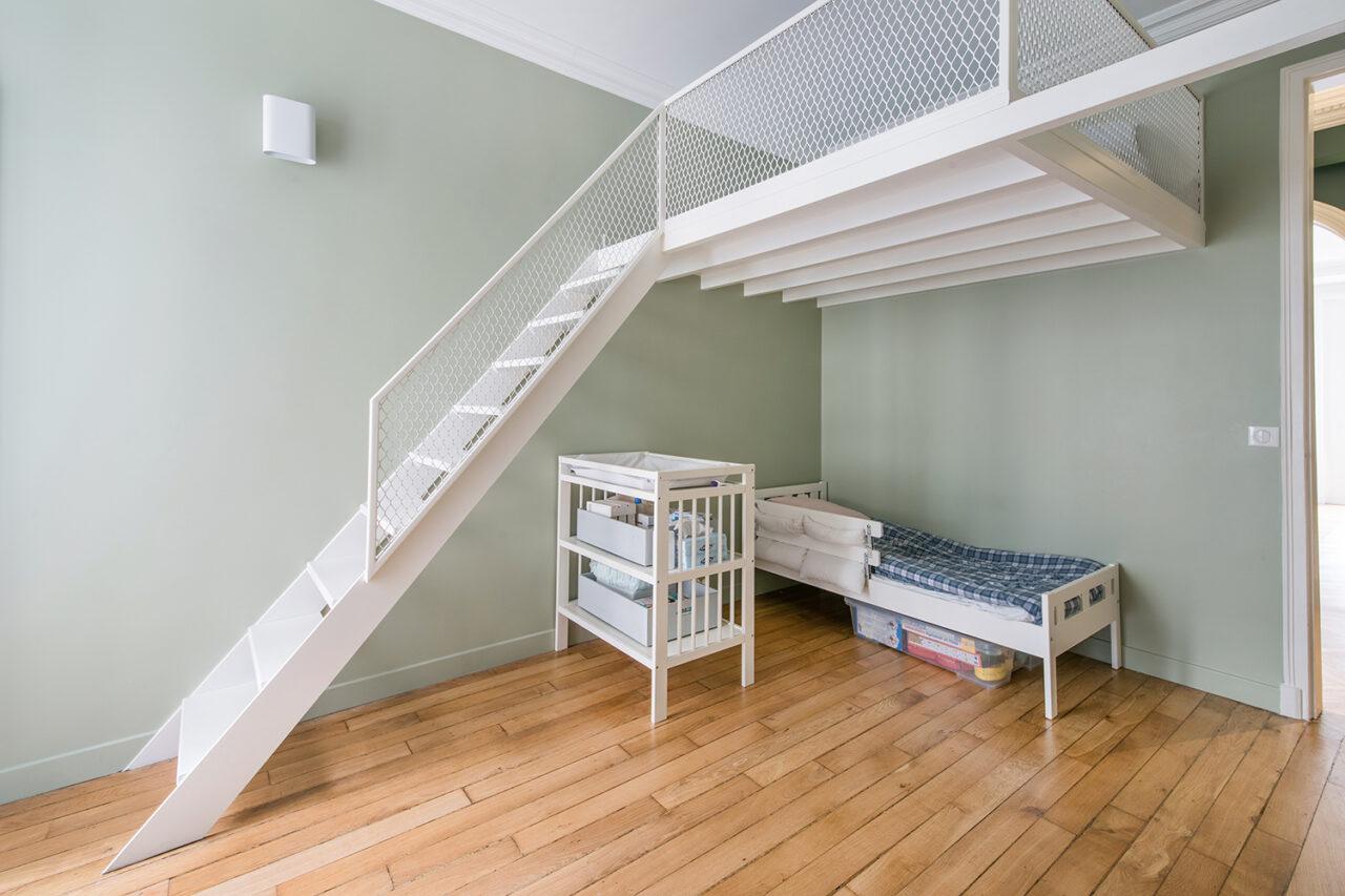 mezzanine sur mesure escalier meunier blanc acier